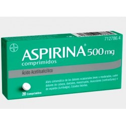 Aspirina 500 mg 20 Comp. Adultos
